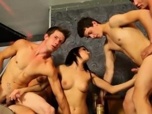 Bi studs fuck pussies in orgy