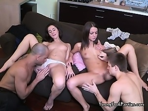 Sexy Teens Fuck Their Tutors  In A Foursome