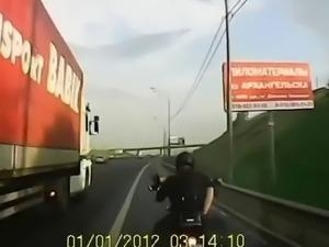 Russian biker fucked whore on a bike