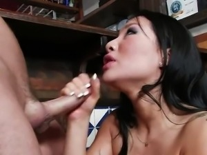 Bartender cums on Asa after she has sex with him on his bar