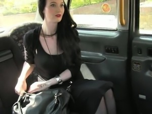 Busty black haired slut nailed by fake pervert driver