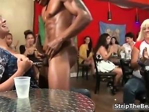 Nasty brunette whore sucks on a dick