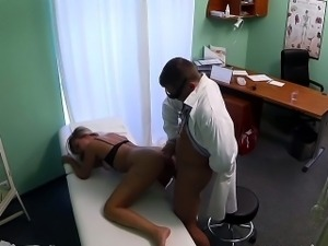Doctor fucks blonde and gives her a pussy creampie pov