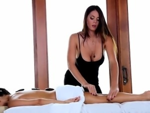 Big tit babe massages
