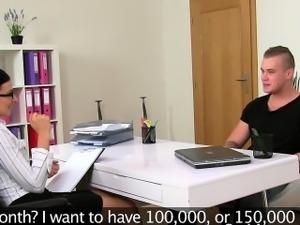 Female agent bangs amateur gu on camera on casting