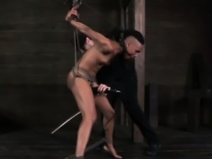 Strappado submissive being humiliated