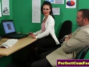 Brunette makes assistant cum