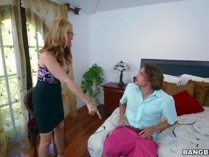 Julia Ann catches her step-son spying on sexy sexy maid Abby Lee sexy. She...