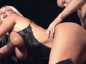 Shemale Alison gets fucked and has her tits cummed on