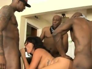 Horny whore Danica Dillion double fucking with black boners