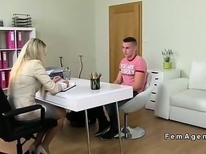 Blonde female agent recording sex casting