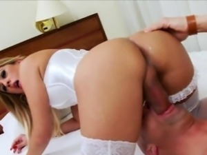 Sexy shemale in lingerie ass fucking with horny guy in bed