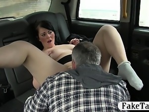 Big tits black hair customer fucked with the driver