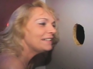 Blonde Amateur Sucking Strangers Off Through Glory Hole