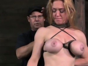 Pathetic submissive gets tits bound