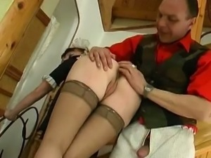 Old perverts fingers his young maid's ass hole
