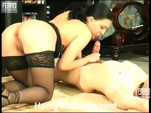 Brunette in stockings rides an older guy's cock