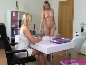 FemaleAgent Bisexual blonde seduces agent