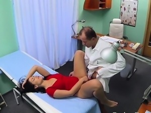 Bent over desk patient gets fucked in fake hospital