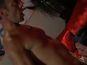Horny brunette Stoya gives deep blowjob on her knees before Rocco Siffredi...