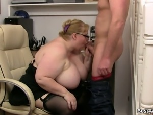 Blonde BBW mature gets banged deep and hard