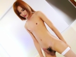 Stockings ladyboy jizzes