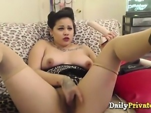 Awesome big titted asian Harley Gin gags toys