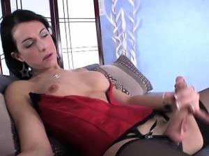 Masturbating glamour ts rubs her butthole