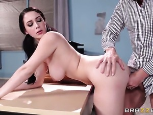 Noelle Easton gets her mouth destroyed by throbbing rod of Johnny Sins