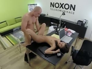 Sexy office chick Lucie caught fucking her boss