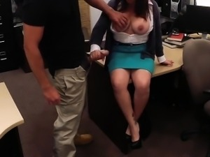 Massive boobs brunette Milf fucked and paid by pawnkeeper