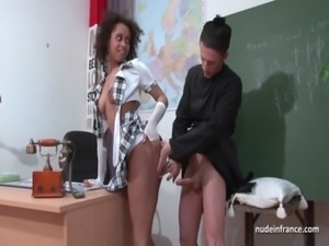Amateur black student banged by the priest in a classroom free