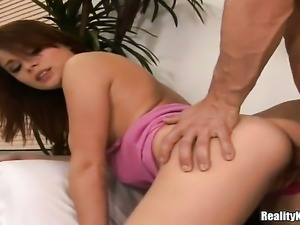 Redhead with juicy knockers and bald twat gets the mouth fuck of her dreams...