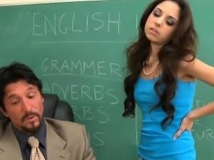 Small titted schoolgirl Trinity St Clair fucking teacher