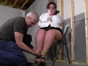 Tied up tight with her mouth packed