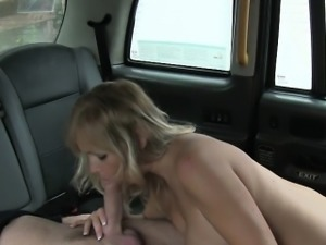Kinky customer tit fucked and pounded in the backseat