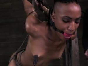 Gagged ebony sub getting punished