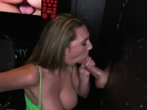 Gloryhole loving blonde handles two dicks