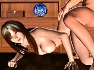 Gorgeous animated with round boobs gets laid