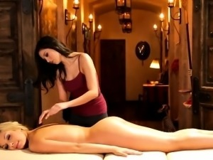 Intimate massage turns into lesbian sex of two hot babes
