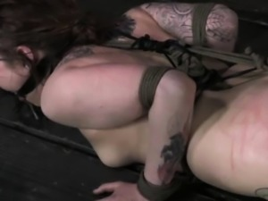 Tattooed submissive spanked raw