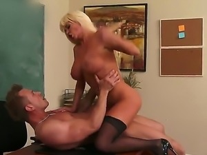 Busty teacher Nikita Von James is a suer sexy woman with long legs and huge...