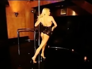 British Blonde Stripper Dancing Arond A Pole