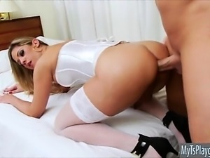 Busty shemale Nicole Bahls ass fucking with bald dude