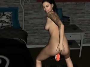 Tattooed 3D cartoon brunette babe toying herself