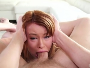 babe with short red hair gets mouth fucked