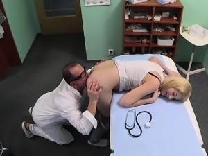 Doctor licks and fucks natural blonde amateur
