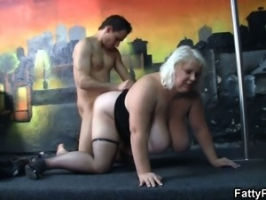 Massive tits blonde fatty gives head and doggystyled