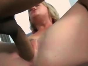 Perky blonde humps and sucks massive dick