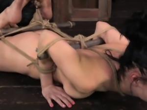 Frogtied bondage session for skanky submissive